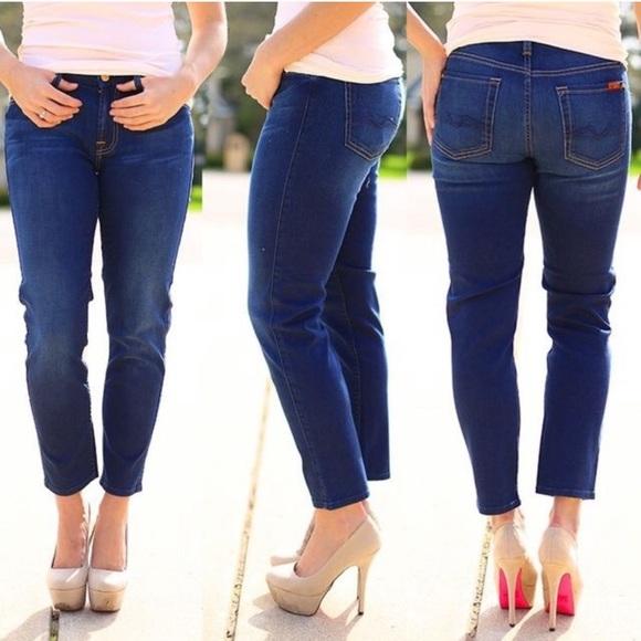 7 For All Mankind Denim - 7 FAMK Kimmie crop dark wash stretch jeans, EUC 27